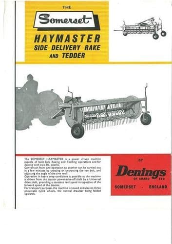 DENINGS SOMERSET HAYMASTER SIDE DELIVERY RAKE AND TEDDER BROCHURE - BX102