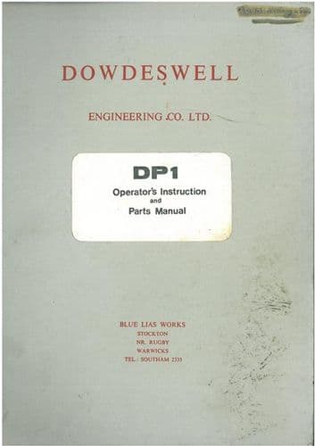 Dowdeswell DP1 Plough Operators Manual with Parts List
