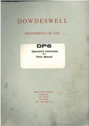 Dowdeswell DP6 Plough Operators Manual with Parts List