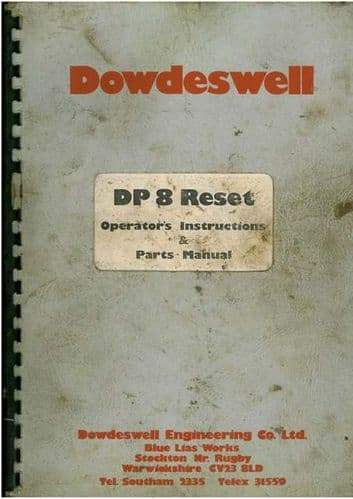 Dowdeswell DP8 Reset Plough Operators Manual with Parts List