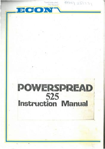 Econ Powerspread Manure Spreader 525 Operators Manual and Parts List