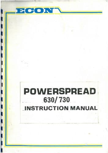 Econ Powerspreader Manure Spreader 630 & 730 Operators Manual and Parts List