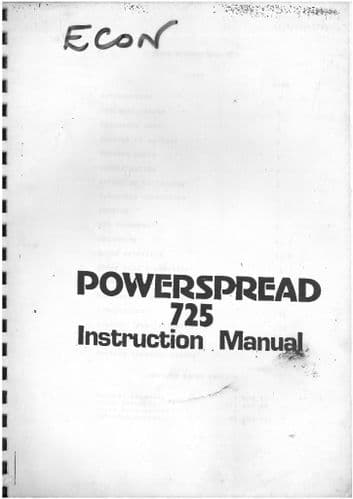 Econ Powerspreader Manure Spreader 725 Operators Manual and Parts List