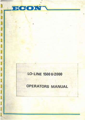 Econ Sprayer Trailed & Mounted Lo-Line 1500 & 2000 Operators Manual with Parts List