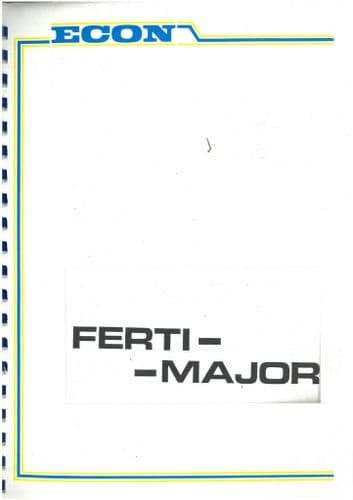Econ Taskers Ferti-Major Spreader Operators Manual and Part Lis
