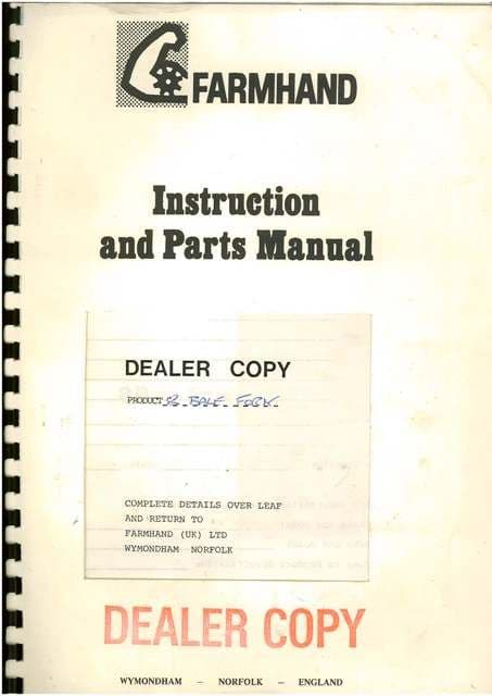 Farmhand 8 Bale Fork/Grab Operators Manual with Parts List