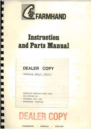 Farmhand 8 Bale System F100 D Accumulator Operators Manual with Parts List