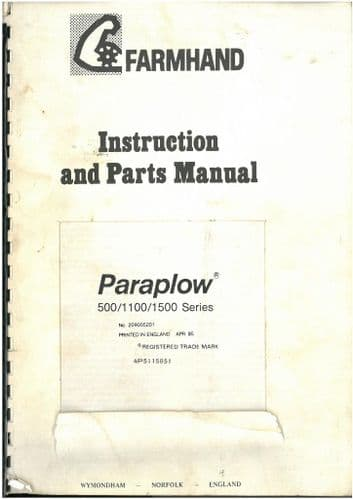 Farmhand Paraplow 500, 1100, 1500 Series Operators Manual with Parts List