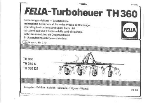 Fella Hay Tedder TH360 TH360D TH360 DS Operators Manual and  Parts List TH 360 D DS