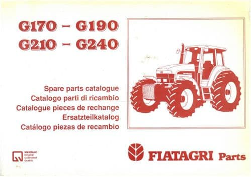 Fiatagri Tractor G170 G190 G210 G240 Parts Manual