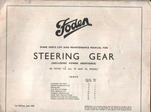 Foden Steering Gear Fitted to FE & FG Model Parts & Maintenance Manual