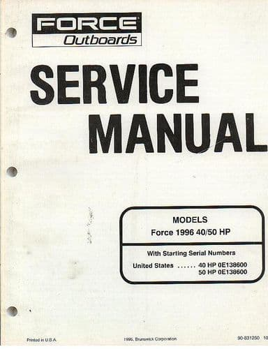 Force Outboards Force 1996 40 / 50 HP Workshop Service Manual