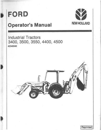 Ford Industrial Tractor 3400 3500 3550 4400 4500 Operators Manual