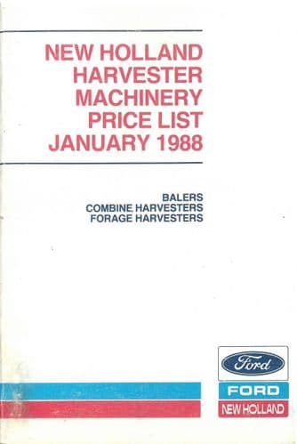 Ford New Holland Harvester Machinery Recommended Retail Price List - January 1988 - ORIGINAL