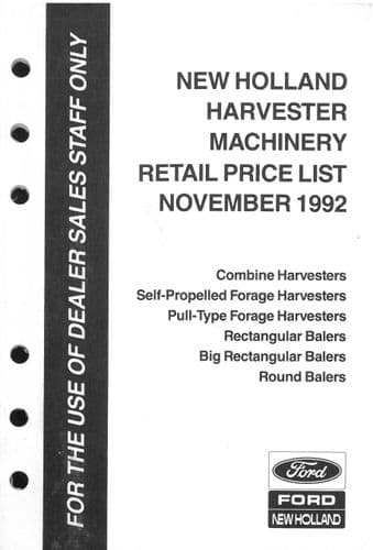 Ford New Holland Harvester Machinery Recommended Retail Price List - Novemebr 1992 - ORIGINAL