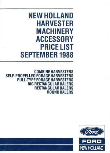 Ford New Holland Harvester Machinery Recommended Retail Price List - September 1988 - ORIGINAL (1)