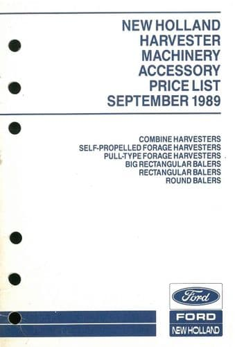 Ford New Holland Harvester Machinery Recommended Retail Price List - September 1989 - ORIGINAL (1)