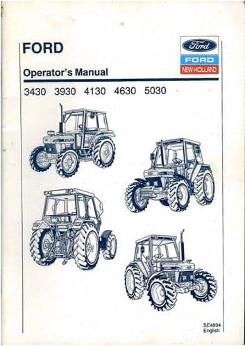 Ford New Holland Tractor 3430 3930 4130 4630 5030 Operators Manual