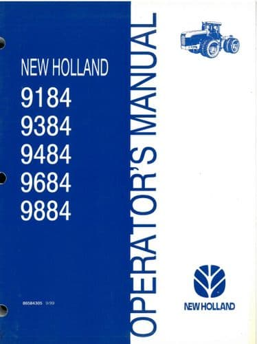 Ford New Holland Tractor 9184 9384 9484 9684 9884 Operators Manual