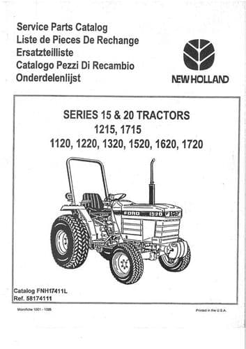 Ford Tractor 1215 1715 1120 1220 1320 1520 1620 1720 Parts Manual