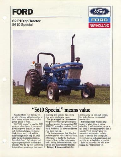 Ford Tractor 5610 Special Brochure