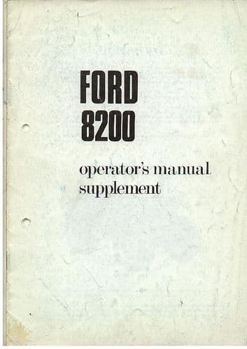 Ford Tractor 8200 Operators Manual Supplement