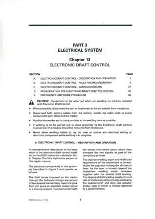 Ford Tractor 8210 Service Manual - Electronic Draft Control Section Only