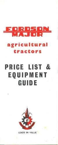 Fordson Major Tractor Price List & Equipment Guide - BX107