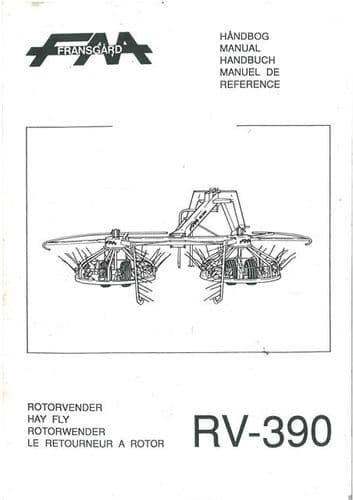 Fransgard Rotary Turner Tedder Hay Fly RV390 Operators Manual with Parts List