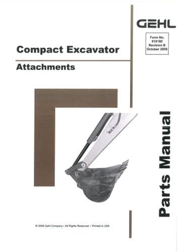 Gehl Compact Excavator Attachements  Parts Manual