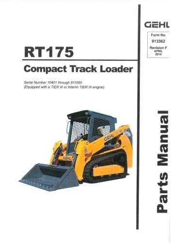 Gehl Compact Track Loader  Model RT175  Parts Manual RT 175