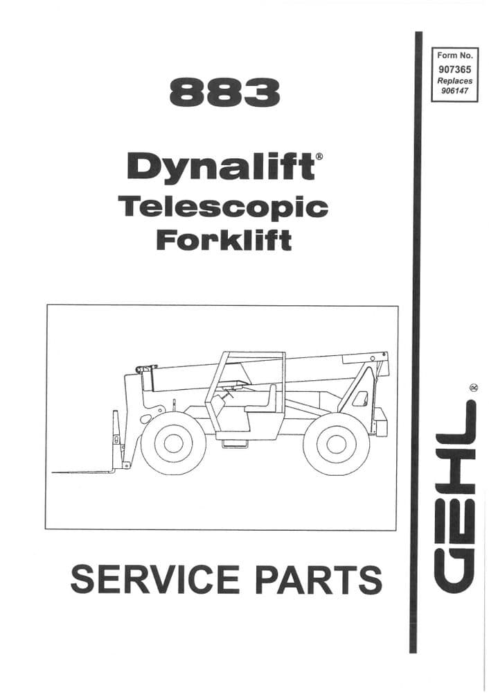 Gehl Dynalift Telescopic Forklift Model 883 Parts Manual