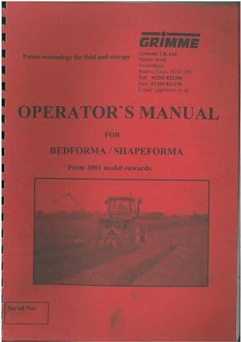 GRIMME BEDFORMA / SHAPEFORMA FROM 2001 ON OPERATORS MANUAL - GTC6A **ORIGINAL**