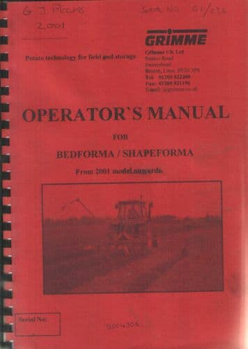Grimme Bedforma / Shapeforma Operators Manual - From 2001 Model On