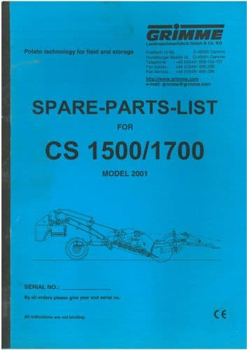 Grimme Destoner CS1500 & CS1700 Parts Manual - CS 1500 1700