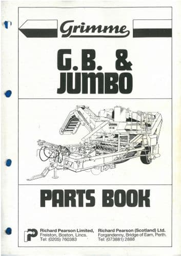 Grimme Potato Harvester GB & Jumbo Parts Manual