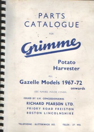 Grimme Potato Harvester Parts Manual