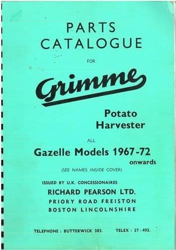 Grimme Potato Harvester Parts Manual For Gazelle Models 1967-72 - ORIGINAL MANUAL