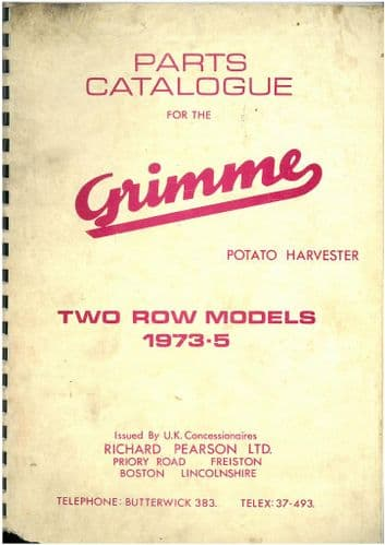 Grimme Potato Harvester - Two Row Models 1973 - 75 Parts Manual
