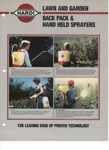 Hardi Lawn & Garden Back Pack & Hand Held Sprayers Brochure