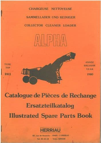 Herriau Alpha Type 2411 Beet Collecter Cleaner Loader Parts Manual