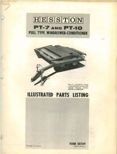 Hesston PT7 & PT10 Windrower Conditioner Parts Manual