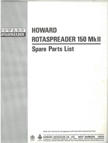Howard Rotaspreader 150 MkII Parts Manual - ORIGINAL MANUAL