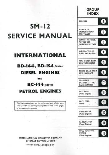 International BD144 & BD154 Diesel & BC144 Petrol Engine Service Manual - B275 B414 B434 & Others
