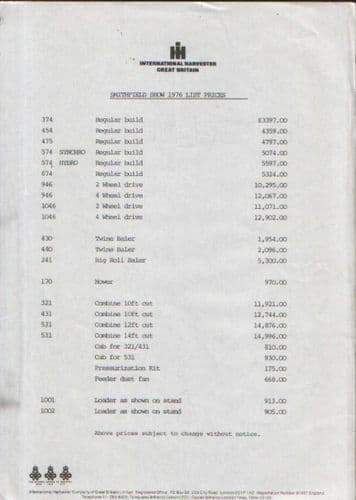 International Harvester Smithfield Show Prices 1976 - Tractors, Combines, Mowers, Loaders