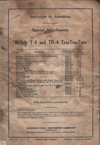 International Harvester T6 & TD6 Tractractor Crawler Tractor Special Attachments Assembly Manual