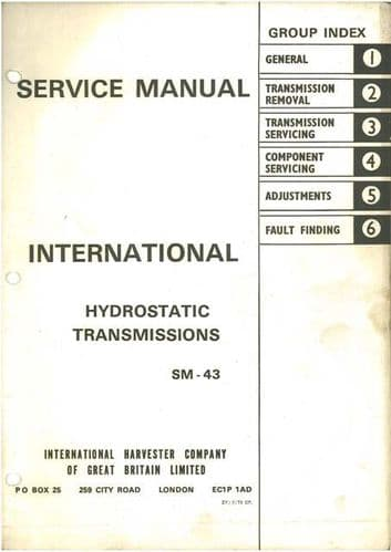 International Hydrostatic Transmissions Service Workshop Manual