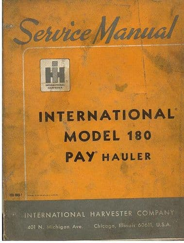 International Pay Hauler Model 180 Service Workshop Manual