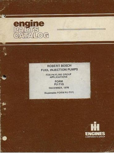 International Robert Bosch Fuel Injection Pumps Parts Manual - 1978
