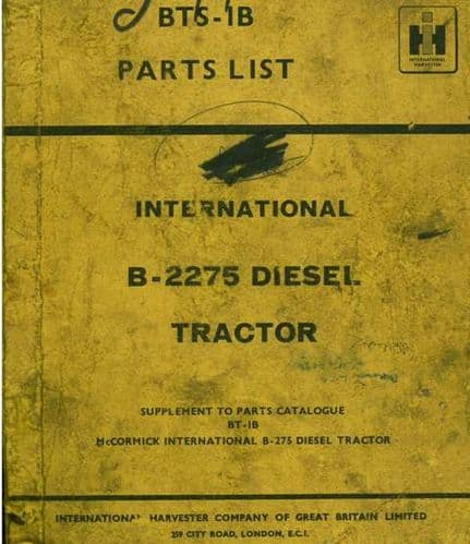 International Tractor 2275 Parts Manual - Supplement to the 275 Parts Manual